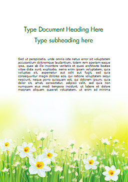 Daffodils Word Template, Cover Page, 15138, Nature & Environment — PoweredTemplate.com