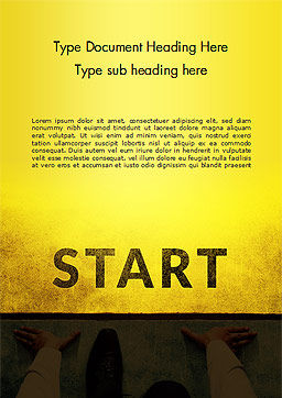 Businessman Standing in Start Position Word Template, Cover Page, 15145, Business Concepts — PoweredTemplate.com