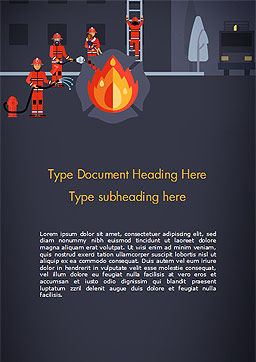 Fire Extinguishing Illustration Word Template, Cover Page, 15148, Careers/Industry — PoweredTemplate.com