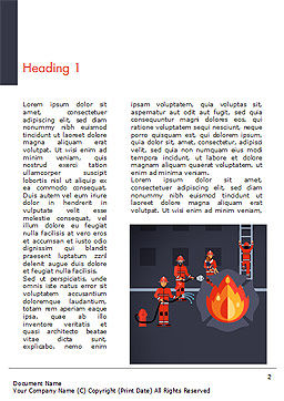 Fire Extinguishing Illustration Word Template, First Inner Page, 15148, Careers/Industry — PoweredTemplate.com