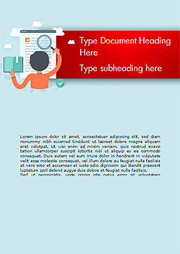 Information Search Illustration Word Template, Cover Page, 15161, Education & Training — PoweredTemplate.com