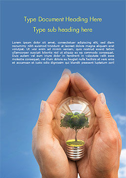 Light Bulb with Tree Inside Word Template, Cover Page, 15165, Nature & Environment — PoweredTemplate.com