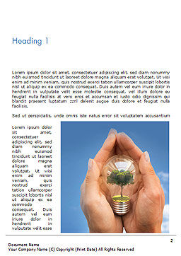 Light Bulb with Tree Inside Word Template, First Inner Page, 15165, Nature & Environment — PoweredTemplate.com