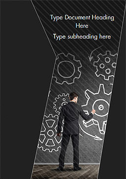 Man at the Chalkboard with Cogwheel Sketch Word Template, Cover Page, 15166, Business Concepts — PoweredTemplate.com