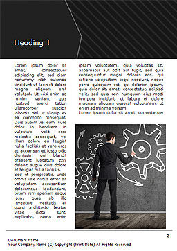 Man at the Chalkboard with Cogwheel Sketch Word Template, First Inner Page, 15166, Business Concepts — PoweredTemplate.com