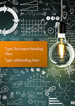 Light Bulb and Blackboard with Formulas Word Template, Cover Page, 15167, Business Concepts — PoweredTemplate.com