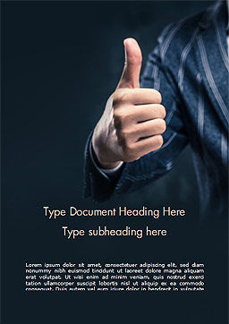 Man Shows Thumb Up Word Template, Cover Page, 15170, Business Concepts — PoweredTemplate.com
