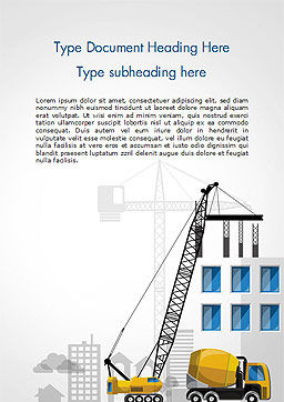 House Building Illustration Word Template, Cover Page, 15171, Construction — PoweredTemplate.com