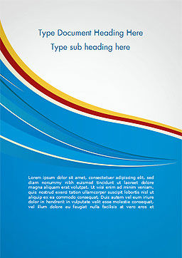Abstract Blue Wave with Three-Colored Strip Word Template, Cover Page, 15177, Abstract/Textures — PoweredTemplate.com