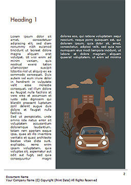 Automobile and Industrial Pollution Word Template, First Inner Page, 15178, Nature & Environment — PoweredTemplate.com