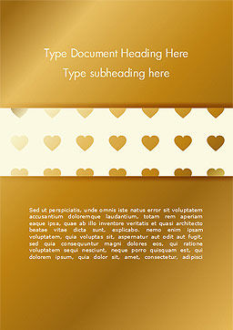 Background of Golden Hearts Word Template, Cover Page, 15180, Holiday/Special Occasion — PoweredTemplate.com