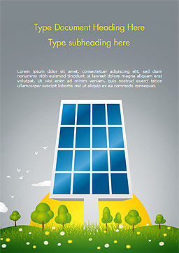 Solar Energy Word Template, Cover Page, 15182, Nature & Environment — PoweredTemplate.com