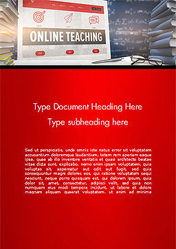 Online Teaching Word Template, Cover Page, 15186, Education & Training — PoweredTemplate.com