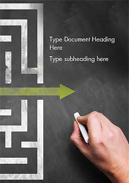A Hand Drawing Shortcut to Maze on Chalkboard Word Template, Cover Page, 15194, Business Concepts — PoweredTemplate.com