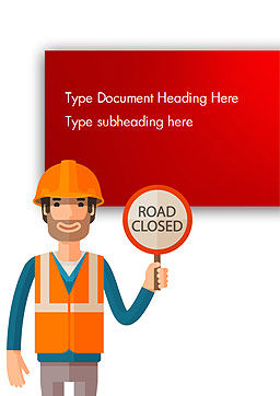 Man Holding Road Closed Sign Word Template, Cover Page, 15198, People — PoweredTemplate.com