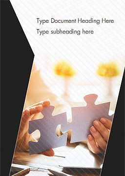 Woman Joining Two Jigsaw Puzzle Pieces Word Template, Cover Page, 15199, Business Concepts — PoweredTemplate.com