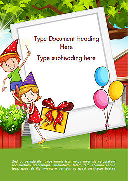 Children Having Birthday Party and Photo Frame Word Template, Cover Page, 15202, Holiday/Special Occasion — PoweredTemplate.com