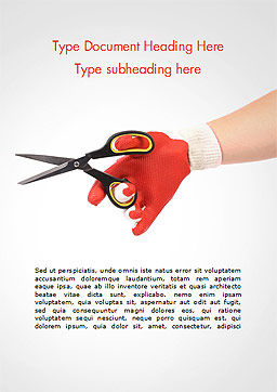 Hand In Glove Holding Scissors Word Template, Cover Page, 15203, Careers/Industry — PoweredTemplate.com