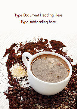 Coffee Cup and Coffee Beans Word Template, Cover Page, 15204, Food & Beverage — PoweredTemplate.com