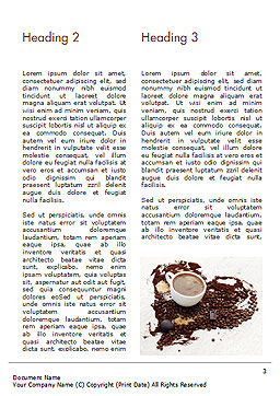 Coffee Cup and Coffee Beans Word Template, Second Inner Page, 15204, Food & Beverage — PoweredTemplate.com