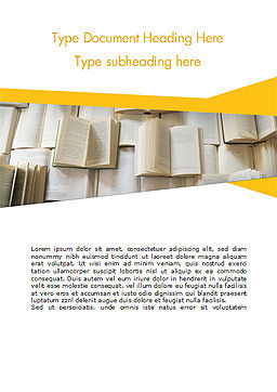 Open Books Piled up Word Template, Cover Page, 15209, Education & Training — PoweredTemplate.com