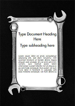 Blank Card with Wrenches Word Template, Cover Page, 15217, Careers/Industry — PoweredTemplate.com