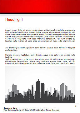 Silhouette of the City in Gray Shades Word Template, First Inner Page, 15220, Construction — PoweredTemplate.com