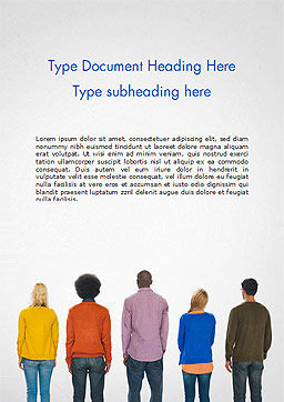 Rear View of Multi-Ethnic Group of People Word Template, Cover Page, 15221, People — PoweredTemplate.com