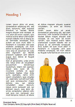 Rear View of Multi-Ethnic Group of People Word Template, First Inner Page, 15221, People — PoweredTemplate.com