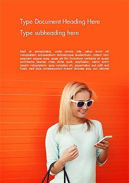 Pretty Smiling Woman with Smartphone Word Template, Cover Page, 15223, People — PoweredTemplate.com