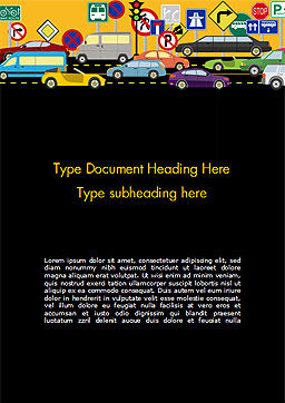 Road Traffic Illustration Word Template, Cover Page, 15225, Cars/Transportation — PoweredTemplate.com