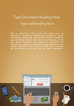 Online Shopping Illustration Word Template, Cover Page, 15227, Business Concepts — PoweredTemplate.com