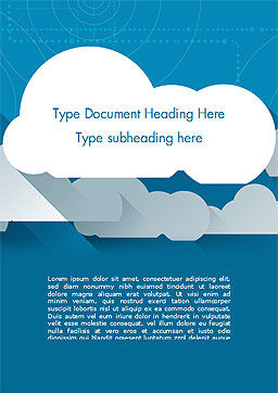 Paper Clouds Word Template, Cover Page, 15230, Nature & Environment — PoweredTemplate.com