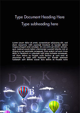 Glowing Fantasy Clouds and Balloons Word Template, Cover Page, 15232, Education & Training — PoweredTemplate.com