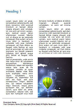 Glowing Fantasy Clouds and Balloons Word Template, First Inner Page, 15232, Education & Training — PoweredTemplate.com