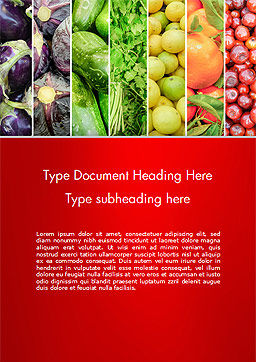 Colorful Rainbow Food Word Template, Cover Page, 15235, Food & Beverage — PoweredTemplate.com