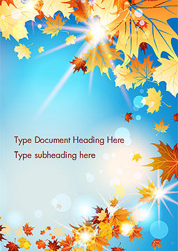 Beautiful Sunny Autumn Word Template, Cover Page, 15240, Nature & Environment — PoweredTemplate.com