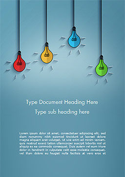 Colored Light Bulbs Word Template, Cover Page, 15246, Business Concepts — PoweredTemplate.com