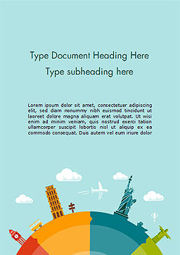 Trip Around the World Word Template, Cover Page, 15250, 3D — PoweredTemplate.com