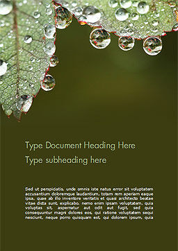 Leaf and Water Drops Word Template, Cover Page, 15253, Nature & Environment — PoweredTemplate.com