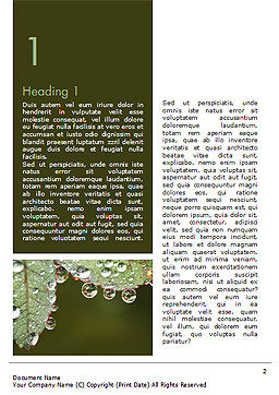 Leaf and Water Drops Word Template, First Inner Page, 15253, Nature & Environment — PoweredTemplate.com