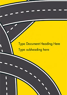 Roads Illustration Word Template, Cover Page, 15259, Construction — PoweredTemplate.com