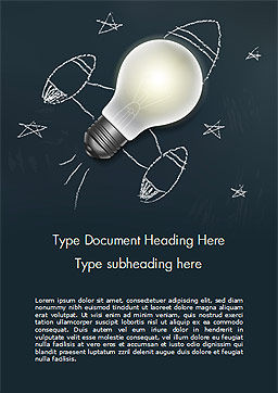 Creative Rocket Light Bulb Word Template, Cover Page, 15261, Business Concepts — PoweredTemplate.com