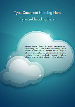 Turquoise Sparkling Clouds Word Template, Cover Page, 15264, Nature & Environment — PoweredTemplate.com