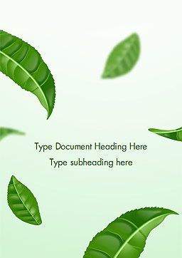 Green Tea Leaves Word Template, Cover Page, 15273, 3D — PoweredTemplate.com