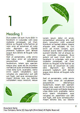 Green Tea Leaves Word Template, First Inner Page, 15273, 3D — PoweredTemplate.com