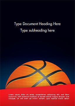 Basketball Ball on Blue Background Word Template, Cover Page, 15274, Sports — PoweredTemplate.com