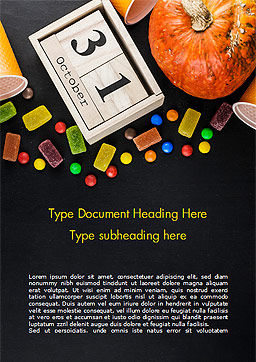 Halloween Sweets Word Template, Cover Page, 15275, Holiday/Special Occasion — PoweredTemplate.com