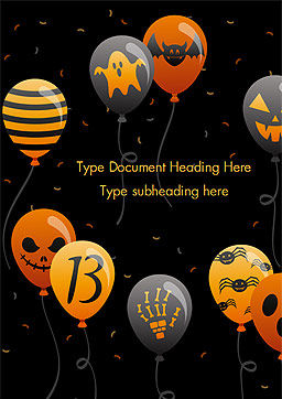 Halloween Balloons Word Template, Cover Page, 15277, Holiday/Special Occasion — PoweredTemplate.com