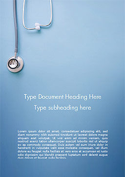 Stethoscope Word Template, Cover Page, 15279, Medical — PoweredTemplate.com
